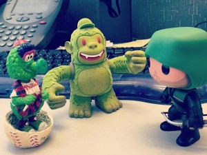Green Team Meeting: Phanatic, Freddie and Oliver. #Phillies #mailkimp #Arrow