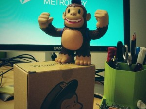 """Thanks to @MailChimp for my new Freddie, a cheerful addition to my new desk."""