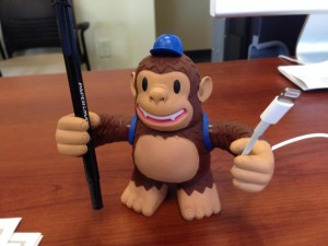 """Freddie helping out around the office. Thanks @MailChimp!"""