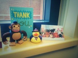 """@MailChimp Freddie has found a home next to my dapper duck and kitty card."""