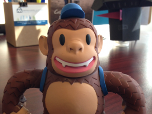 """We love our @MailChimp Freddie toy! He's got a great new home next to #Origami #Darth. You rock #mailchimp, thanks!"""