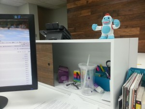"""Thanks, @MailChimp for my adorable Yeti Freddie! He's already king of the desk mountain here."""