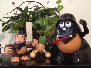 """@MailChimp Freddie and Darth Tater are having a ""discussion"" about office mascot supremacy. Who will win?"""