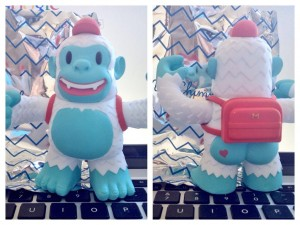 """Thanks for the Yeti Freddie @MailChimp! Freddie looks fierce, but the heart on his bum shows he's full of love."""