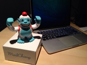 """Yeti Freddie taking up residence in his new home.  Thanks @mailchimp !"""