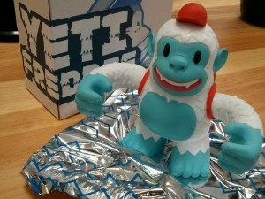 """@mailchimp Yeti Freddie comes with his own winter survival blanket. Thanks for the gift!"""