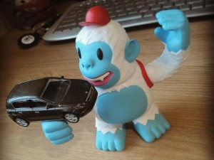 """Freddie the @MailChimp Yeti is celebrating @PeugeotNews winning European Car of the Year with their 308."""