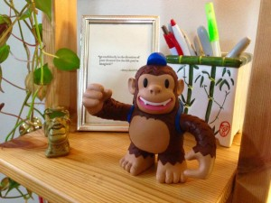 """Blogging & email day. Thanks 4 inspiration @taragentile @MailChimp & action figure Freddie! #standoutbiz"""