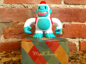"""Happy to welcome Yeti Freddie, snowy @MailChimp mascot, to Pittsburgh. Thanks to @replyall, @PJVogt and @AGoldmund."""
