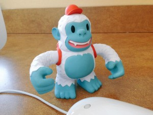 """My Yeti Freddie from @MailChimp and @replyall arrived the same day I started my first job with an actual desk."""
