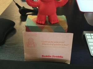 """Cheers to @MailChimp and Reddie Freddie on their killer red themed swag! #customerlove"""