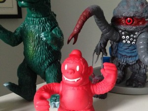 Sweet #reddiefreddie from @mailchimp hangin out with the other monsters #onthedesk